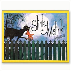 <center>SLINKY MALINKI <h4>– Book by Lynley Dodd –</h4></center>