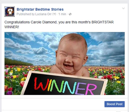 Brightstar Winner Carole Diamond