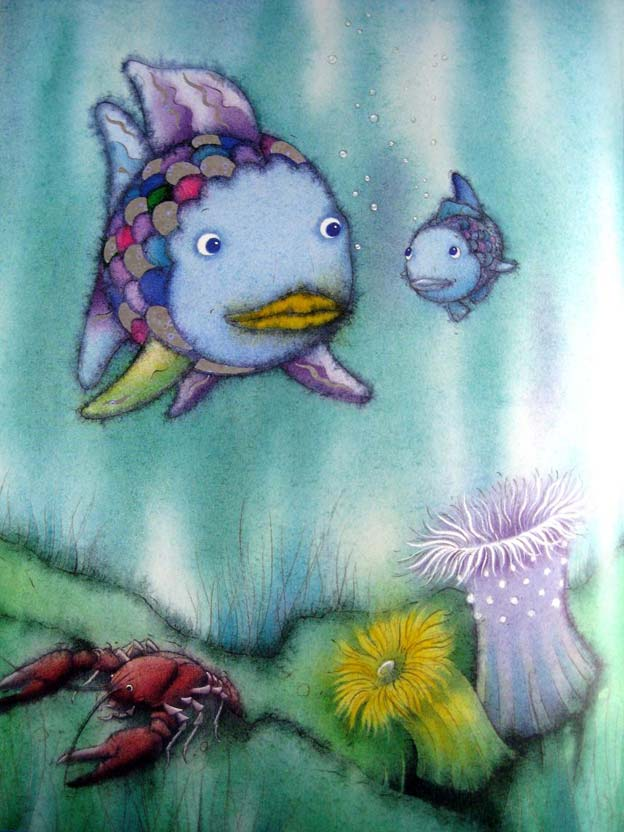 The rainbow fish kid 39 s book by author and illustrator for Rainbow fish story