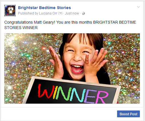 Brightstar bedtime stories winner March 2017 Matt Geary