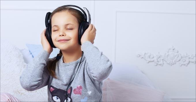 Child listens to audio meditation